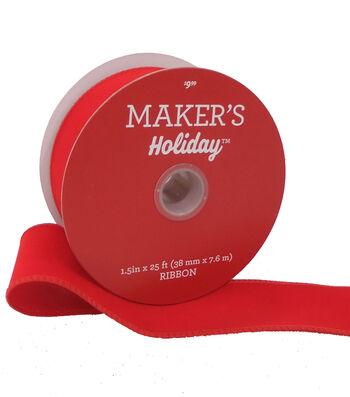 Maker's Holiday Christmas Velvet Ribbon 1.5''x25'-Red