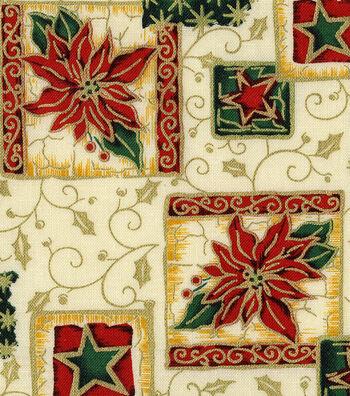 "Keepsake Calico™ Holiday Cotton Fabric 44""-Metallic Poinsettia"