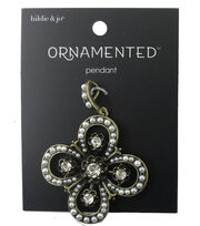 hildie & jo™ Ornamented Antique Gold Cross Pendant-Pearl & Crystal, , hi-res