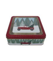 Maker's Holiday Christmas Medium Square Clear Top Cookie Tin-Truck, , hi-res