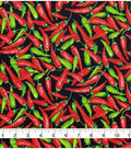 Novelty Cotton Fabric 43\u0022-Green Red Chili Peppers