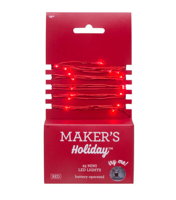 Maker's Holiday Christmas 25 ct Mini LED Rice Light Strand-Red