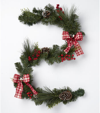 Blooming Holiday Berry, Bell, Plaid Bow & Pinecone Garland-Red & Green