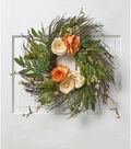 Fresh Picked Spring 22\u0027\u0027 Ranunculus & Peony Wispy Wreath-Peach