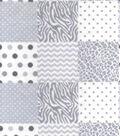 Nursery Flannel Fabric 42\u0022-Grey Animal Patchwork