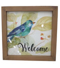 Wild Blooms Bird Glass Wall Decor-Blue