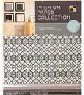 DCWV 12\u0022x12\u0022 set of 5 Premium Papers-Black/White Assortment