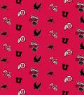University of Utah Utes Cotton Fabric 44\u0022-All Over