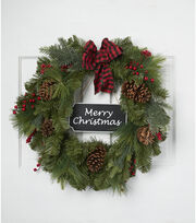 Blooming Holiday 22'' Wreath with Merry Christmas Chalk Sign-Green & Red, , hi-res