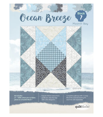 Quilt Block Ocean Breeze 21-Pieces Block 7 Kit-Moonlit Bay