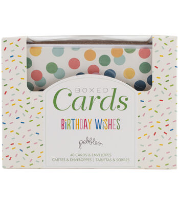 Pebbles A2 Cards w/Envelopes 40/Box-Birthday Wishes