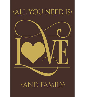 Porch Décor Fabric Flag 12''x18''-Gold All You Need is Love & Family