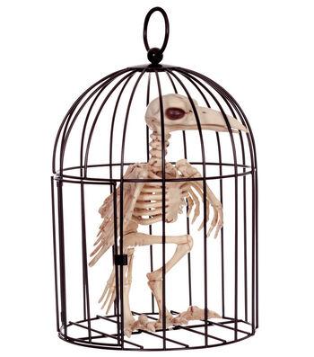 The Boneyard Halloween Crow In Cage with Opening Door