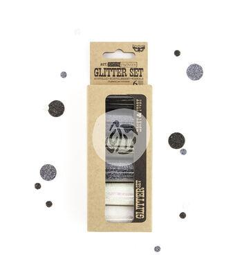 Art Extravagance Glitter Set 6/Pkg-Ebony & Ivory