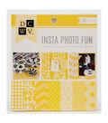 DCWV Insta Photo Fun 4\u0022x4\u0022 Printed Cardstock stack: Yellow