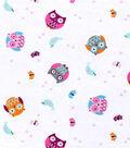 Nursery Flannel Fabric 42\u0022-Bright Tossed Owl