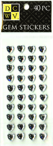 DCWV Heart Gem Stickers-medium clear gems, , hi-res