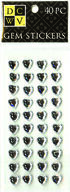 DCWV Heart Gem Stickers-medium clear gems