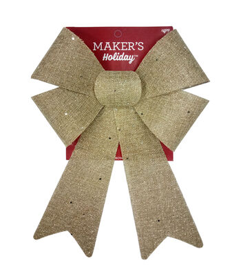 Maker's Holiday Christmas 9''x14'' Burlap Bow with Glitter