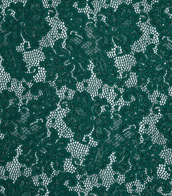 """Sew Sweet Glitter Floral Net Lace Fabric 57""""-Evergreen"""