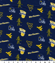 "West Virginia University Mountaineers Cotton Fabric 43""-Blue, , hi-res"