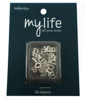 hildie & jo™ My Life 26 Pack Mini Letters Silver Locket Charms, , hi-res