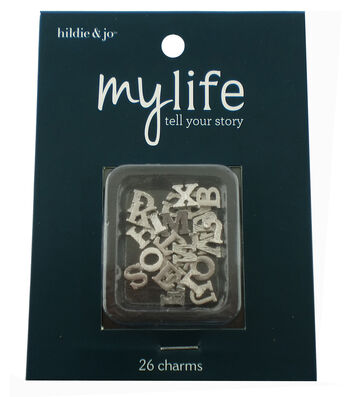hildie & jo™ My Life 26 Pack Mini Letters Silver Locket Charms