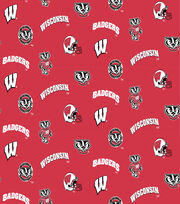 "University of Wisconsin Badgers Cotton Fabric 44""-All Over, , hi-res"