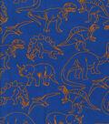 Snuggle Flannel Print Fabric 42\u0022-Orange Outline Dinos