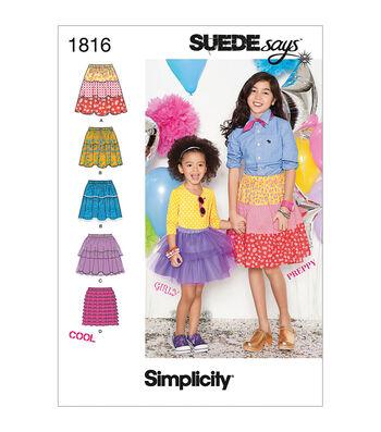 Simplicity Patterns Us1816-Simplicity Child Girl Skirts Pants-3-4-5-6