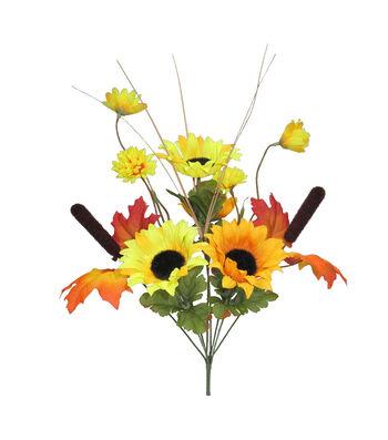 Blooming Autumn 17'' Sunflower, Daisy & Cattail Bush-Yellow