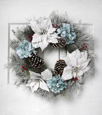 Blooming Holiday Christmas 23'' Poinsettia, Hydrangea & Pinecone Wreath