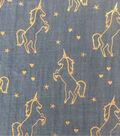 Doodles® Juvenile Apparel Fabric 57\u0022-Foiled Unicorn Denim