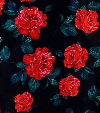 "Sew Sweet Satin Rose Print Fabric 44""-Red & Green"