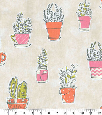 Home Essentials™ Upholstery Fabric 45''-Plants on Cream