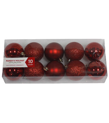 Maker's Holiday Pack of 10 60mm Ornaments-Red
