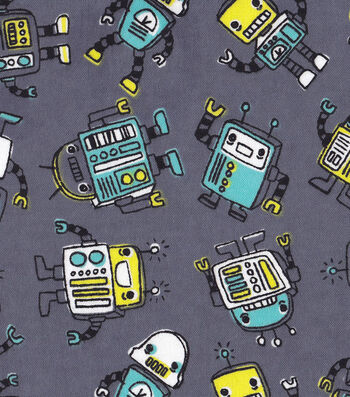 "Snuggle Flannel Fabric 42""-Blinky Robots"