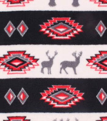 "3 Yard Pre-Cut Anti-Pill Fleece Fabric 59""-Stag Aztec Stripe"