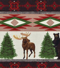 Snuggle Flannel Fabric 42\u0027\u0027-Wintertime Animal & Stripe