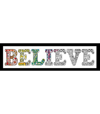 Design Works Zenbroidery Stamped Picture Kit-Believe
