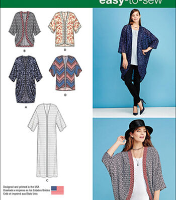 Simplicity Patterns Us1108A-Simplicity Misses' Kimono'S In Different Styles-Xxs-Xs-S-M-L-Xl-Xxl