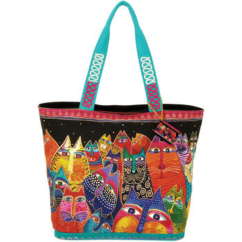 "Laurel Burch Shoulder Tote Zipper Top 19.5""x6.75""x15""-Fantasticats"
