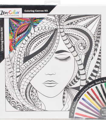 """Adult Coloring Canvas 12""""X12"""" w/12 Markers-Lady"""