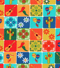 Latin Fabric- Tiled Flowers & Motifs Cotton Fabric