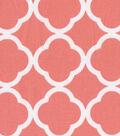 Keepsake Calico Cotton Fabric 44\u0022-Quatrefoil Coral&White