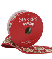 Maker's Holiday Christmas Ribbon 1.5''x30'-Gingerbread Man on Red, , hi-res