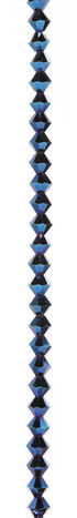 7\u0022 Bead Strands - Blue Metallic Crystal Bicones, 6mm