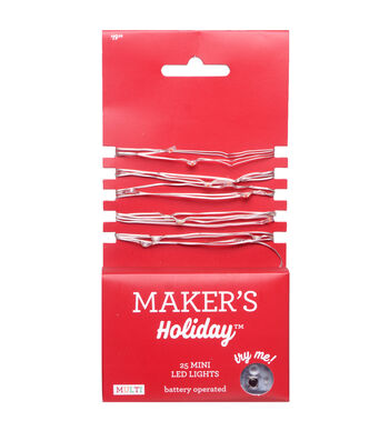 Maker's Holiday 25 ct Mini LED Rice Light Strand-Multi with Silver Wire