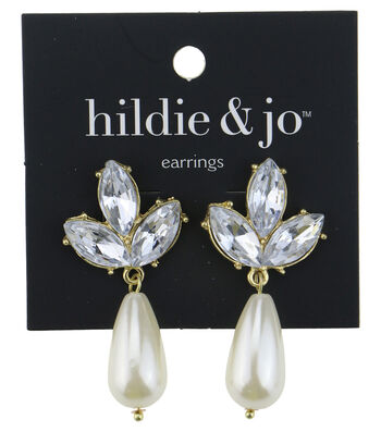 hildie & jo™ Gold Dangle Earrings-Pearl & Clear Crystals