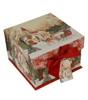 Maker's Holiday Small Mini Fliptop Box-Snow Church